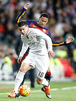 Real Madrid's James Rodriguez (f) and FC Barcelona's Neymar Santos Jr during La Liga match. November 21,2015. (ALTERPHOTOS/Acero) /NortePhoto