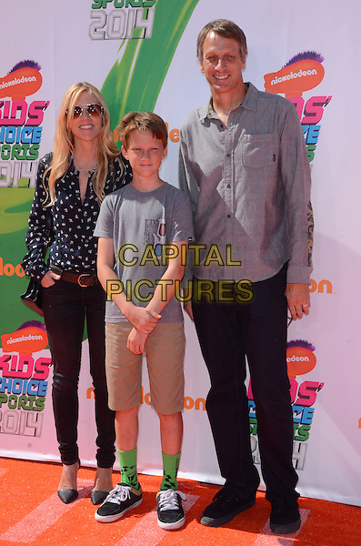 17 July 2014 - Los Angeles, California - Tony Hawk &amp; family. Arrivals for the Nickelodeon Kids' Choice Sports Awards 2014 held at UCLA's Pauley Pavilion in Los Angeles, Ca.  <br /> CAP/ADM/BT<br /> &copy;Birdie Thompson/AdMedia/Capital Pictures