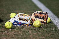 DURHAM, NC - FEBRUARY 29: NCAA and ACC softballs and softball gloves during a game between Notre Dame and Duke at Duke Softball Stadium on February 29, 2020 in Durham, North Carolina.