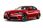 Stock pictures of low aggressive front three quarter view of a 2017 Alfa Romeo Giulia Veloce 4 Door Sedan