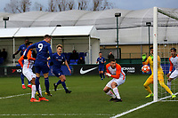 Charlie Brown of Chelsea heads the ball just wide of the Montpellier goal during Chelsea Under-19 vs Montpellier HSC Under-19, UEFA Youth League Football at the Cobham Training Ground on 13th March 2019