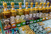Fragrances on Display in Perfume Shop, Kampong Glam, Singapore.
