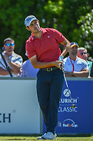 Patrick Cantlay (USA) watches his tee shot on 8 during Round 1 of the Zurich Classic of New Orl, TPC Louisiana, Avondale, Louisiana, USA. 4/26/2018.<br /> Picture: Golffile | Ken Murray<br /> <br /> <br /> All photo usage must carry mandatory copyright credit (&copy; Golffile | Ken Murray)