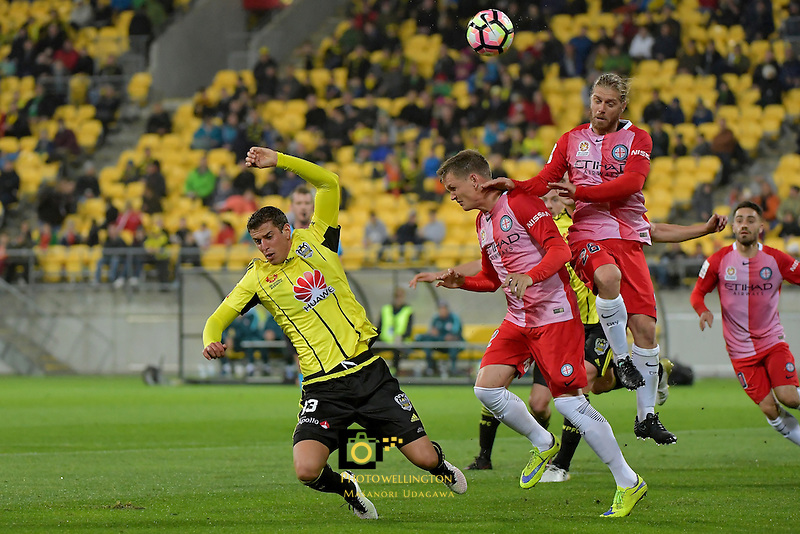 Wellington Phoenix&rsquo;  Marco Rossi and Melbourne City FC's Luke Formaroli in action during the A League - Wellington Phoenix v Melbourne City FC at Westpac Stadium, Wellington, New Zealand on Saturday 8 October 2016.<br /> Photo by Masanori Udagawa. <br /> www.photowellington.photoshelter.com.