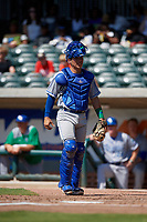 Lexington Legends catcher Freddy Fermin (4) during a South Atlantic League game against the Augusta GreenJackets on April 30, 2019 at SRP Park in Augusta, Georgia.  Augusta defeated Lexington 5-1.  (Mike Janes/Four Seam Images)