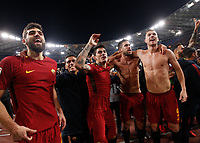 From left, Roma s Federico Fazio, Hector Moreno, Diego Perotti, Kevin Strootman and Edin Dzeko celebrate at the end of the Italian Serie A football match between Roma and Lazio at Rome's Olympic stadium, 18 November 2017. Roma won 2-1.<br /> UPDATE IMAGES PRESS/Riccardo De Luca