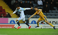 Blackburn Rovers' Joe Nuttall under pressure from Wigan Athletic's Antonee Robinson<br /> <br /> Photographer Kevin Barnes/CameraSport<br /> <br /> The EFL Sky Bet Championship - Blackburn Rovers v Wigan Athletic - Tuesday 12th March 2019 - Ewood Park - Blackburn<br /> <br /> World Copyright © 2019 CameraSport. All rights reserved. 43 Linden Ave. Countesthorpe. Leicester. England. LE8 5PG - Tel: +44 (0) 116 277 4147 - admin@camerasport.com - www.camerasport.com