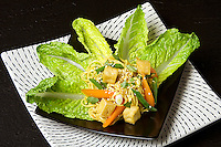 Romaine hearts spicy Asian noodle salad. Additional ingredients include garlic, Chinese long beans, carrot, green onion, Chinese egg noodle, soy sauce, tofu, jalapeño pepper, cilantro and sesame seeds.