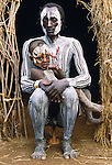 Karo tribesman and child, Murle Region, Ethiopia