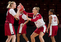 Stanford, CA., March 25, 2013,--  Taylor Greenfield and Joslyn Tinkle, both with the Stanford women's basketball team workout during team practice Monday, March 25, 2013, for there second round NCAA 2013, basketball championship game against Michigan, at Maples Pavilion.  ( Norbert von der Groeben )