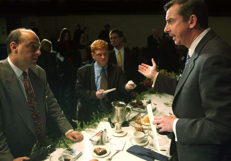 11/4/04.GILLESPIE VOTE REACTION--Republican National Committee Chairman Ed Gillespie talks to reporters after a National Press Club luncheon on his post-election analysis of the congressional and 11 gubernatorial contests as well as the race for the White House. DNC  Chairman Terry McAuliffe was invited but did not attend..CONGRESSIONAL QUARTERLY PHOTO BY SCOTT J. FERRELL