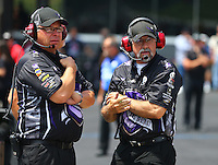 Jun 21, 2015; Bristol, TN, USA; NHRA co- crew chiefs Jimmy Prock (left) and John Medlen for NHRA funny car driver Jack Beckman during the Thunder Valley Nationals at Bristol Dragway. Mandatory Credit: Mark J. Rebilas-