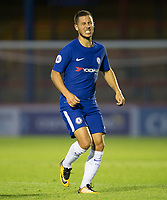 Eden Hazard of Chelsea looks in pain after a challenge during the U23 Premier League 2 match between Chelsea and Everton at the EBB Stadium, Aldershot, England on 25 August 2017. Photo by Andy Rowland.