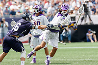 Will Renz  (#16) defends Justin Reh (#11) as Yale defeats UAlbany 20-11 in the NCAAA semifinal game at Gillette Stadium, May 26.