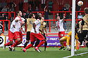 Peter Hartley of Stevenage sees is header hit the crossbar and bounce off the line<br />  - Stevenage v Leyton Orient - Sky Bet League 1 - Lamex Stadium, Stevenage - 17th August, 2013<br />  © Kevin Coleman 2013