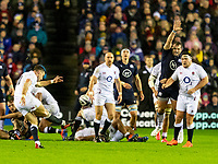 8th February 2020; Murrayfield Sadium, Edinburgh, Scotland; International Six Nations Rugby, Scotland versus England; George Ford of England attempts a drop kick