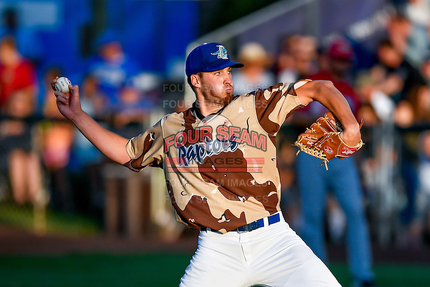 Ogden Raptors starting pitcher Nolan Long (56) delivers a pitch to the plate against the Orem Owlz in Pioneer League action at Lindquist Field on July 29, 2016 in Ogden, Utah. Orem defeated Ogden 8-5. (Stephen Smith/Four Seam Images)