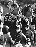 Oakland Raiders linebackers Dan Conners and Gus Otto on sideline...(1971 photo/Ron Riesterer)