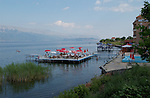 Pogradec-Albania - August 02, 2004---A hotel near Pogradec at Lake Ohrid with (sun)bathing facilities; region/village of project implementation by GTZ-Wiram-Albania (German Technical Cooperation, Deutsche Gesellschaft fuer Technische Zusammenarbeit (GTZ) GmbH); economy-tourism---Photo: Horst Wagner/eup-images