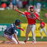 11 March 2016: Philadelphia Phillies infielder Angelys Nina turns a double-play to end the 6th inning of a Spring Training pre-season game against the Atlanta Braves at Champion Stadium in the ESPN Wide World of Sports Complex in Kissimmee, Florida. The Phillies defeated the Braves 9-2 in Grapefruit League play. Mandatory Credit: Ed Wolfstein Photo *** RAW (NEF) Image File Available ***