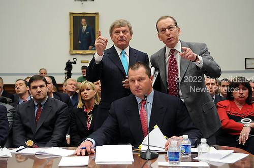 "Washington, DC - February 13, 2008 -- Roger Clemens, former New York Yankee pitcher and Brian McNamee, former Major League Baseball strength and conditioning coach testify before the United States House of Representatives Committee on Government Operations and Reform hearing on ""The Mitchell Report: The Illegal use of Steroids in Major League Baseball, Day 2""  concerning alleged use of steroids and human growth hormone (HGH) by Clemens and several other major league players in Washington, D.C. on Wednesday, February 13, 2008.  .Credit: Ron Sachs / CNP"