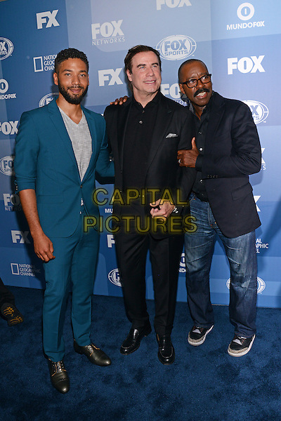 NEW YORK - MAY 11: (L-R) Jussie Smollett, John Travolta and Courtney B. Vance arrive at the 2015 FOX Programming Presentation Post Party at the Wollman Rink in Central Park on May 11, 2015 in New York City. <br /> CAP/MPI/PGCS<br /> &copy;PGCS/MPI/Capital Pictures