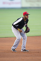 Hickory Crawdads third baseman Josh Morgan (3) on defense against the Kannapolis Intimidators at CMC-Northeast Stadium on May 21, 2015 in Kannapolis, North Carolina.  The Intimidators defeated the Crawdads 2-0 in game two of a double-header.  (Brian Westerholt/Four Seam Images)