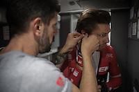 helping Boy van Poppel (NED/Trek-Segafredo) with his race radio earpiece before the start<br /> <br /> 11th Strade Bianche 2017