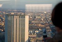 milano, il grattacielo nuova sede della regione lombardia aperta per visita ai cittadini. panorama verso il grattacielo pirelli, attuale sede della regione --- milan, the new skyscraper headquarter of Lombardy Region authority open for visits. view of the pirelli skyscraper, actual headquarter