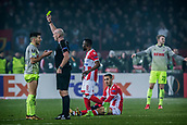 7th December 2017, Rajko Mitic Stadium, Belgrade, Serbia, UEFA Europa League football, Red Star Belgrade versus FC Cologne; The referee shows the yellow card to Midfielder Milos Jojic of FC Koeln