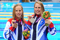 PICTURE BY ALEX BROADWAY /SWPIX.COM - 2012 London Paralympic Games - Day Eight - Swimming, Aquatic Centre, Olympic Park, London, England - 06/09/12 - Louise Watkin & Stefanie Millward of Great Britain pose with the Medals after the Women's 200m Individual Medley SM9 Final.