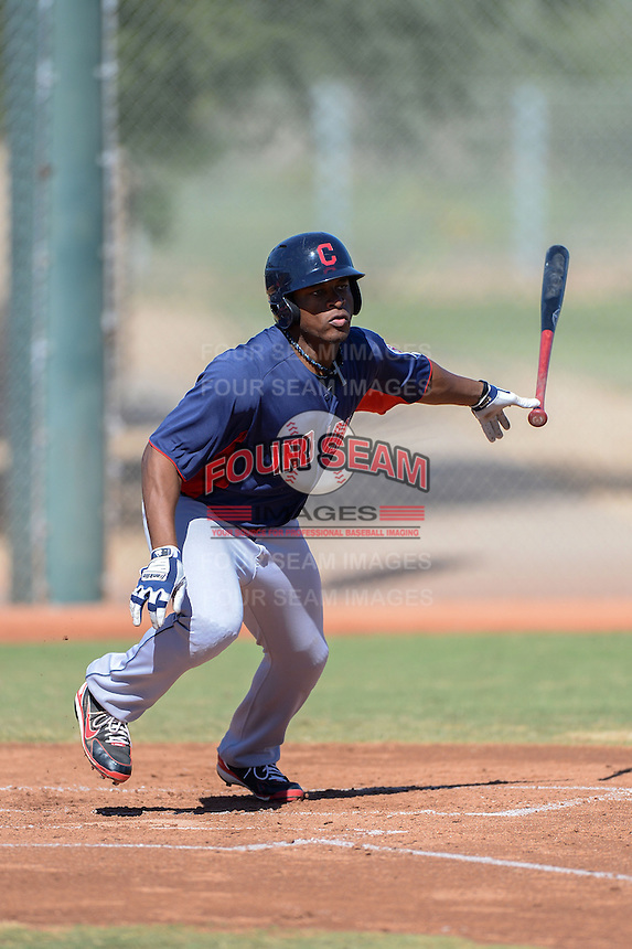 Cleveland Indians outfielder Bryson Myles (27) during an instructional league game against the Cincinnati Reds on September 28, 2013 at Goodyear Training Complex in Goodyear, Arizona.  (Mike Janes/Four Seam Images)