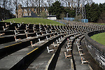 The disused terracing at the Commonwealth Stadium at Meadowbank before the Scottish Lowland League match between Edinburgh City and city rivals Spartans, which was won by the hosts by 2-0. Edinburgh City were the 2014-15 league champions and progressed to a play-off to decide whether there would be a club promoted to the Scottish League for the first time in its history. The Commonwealth Stadium hosted Scottish League matches between 1974-95 when Meadowbank Thistle played there.