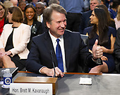 Judge Brett Kavanaugh acknowledges a friend as he prepares to give testimony before the United States Senate Judiciary Committee on his nomination as Associate Justice of the US Supreme Court to replace the retiring Justice Anthony Kennedy on Capitol Hill in Washington, DC on Tuesday, September 4, 2018.<br /> Credit: Ron Sachs / CNP<br /> (RESTRICTION: NO New York or New Jersey Newspapers or newspapers within a 75 mile radius of New York City)