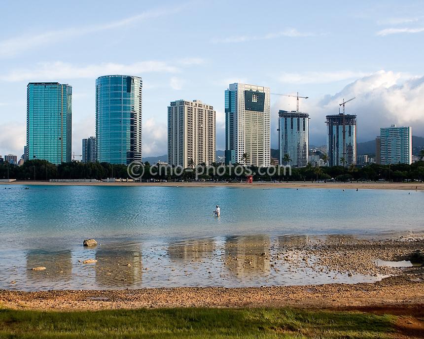 Skyline near Waikiki in Honolulu, HI