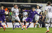 Mauro Zarate of Fiorentina hits a shot at goal during the UEFA Europa League 2nd leg match between Tottenham Hotspur and Fiorentina at White Hart Lane, London, England on 25 February 2016. Photo by Andy Rowland / Prime Media images.