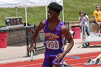 Brentwood senior Deshaun Johnson leads off the 4x100 relay that placed fourth in 44.49 in Class 2 at the Missouri Class 1 and 2 State Track and Field Championships in Jefferson City, Saturday, May 21.