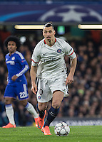 Zlatan Ibrahimovic of Paris Saint-Germain in action during the UEFA Champions League Round of 16 2nd leg match between Chelsea and PSG at Stamford Bridge, London, England on 9 March 2016. Photo by Andy Rowland.