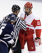 Jeff Zippel (Toronto - 15), Chris Leavitt, Justin Courtnall (BU - 19) - The Boston University Terriers defeated the visiting University of Toronto Varsity Blues 9-3 on Saturday, October 2, 2010, at Agganis Arena in Boston, MA.
