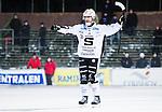 Uppsala 2015-02-04 Bandy Elitserien IK Sirius - Sandvikens AIK :  <br /> Sandvikens Daniel B&auml;ck firar sitt 3-0 m&aring;l under matchen mellan IK Sirius och Sandvikens AIK <br /> (Foto: Kenta J&ouml;nsson) Nyckelord:  Bandy Elitserien Uppsala Studenternas IP IK Sirius IKS Sandviken SAIK jubel gl&auml;dje lycka glad happy