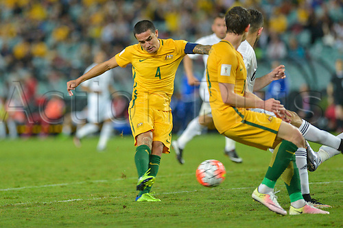 29.03.2016. Allianz Stadium, Sydney, Australia. Football 2018 World Cup Qualification match Australia versus Jordan. Australian forward Tim Cahill shoots. Australia won 5-1.