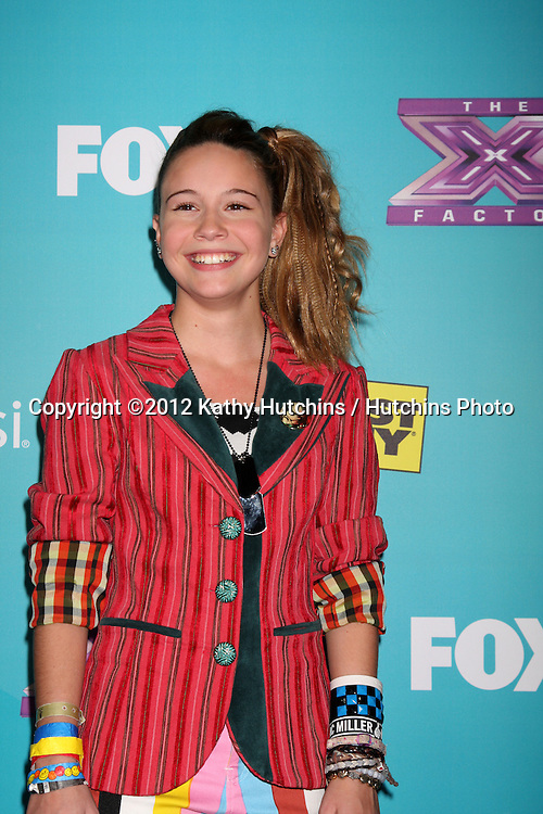 LOS ANGELES - NOV 5:  Beatrice Miller arrives at the X-Factor Season Two FInalist Party at SLS Hotel at Beverly Hills on November 5, 2012 in Los Angeles, CA