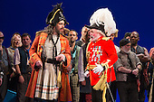"""London, UK. 7 May 2015. Andrew Shore as Major-General Stanley and Joshua Bloom as The Pirate King. Dress rehearsal of the Gilbert and Sullivan comic opera """"The Pirates of Penzance"""" at the London Coliseum. Award winning director Mike Leigh makes his operatic directing debut with The Pirates of Penzance. The ENO production opens at the London Coliseum on 9 May 2015 and runs for 14 productions until 27 June 2015. The English National Opera production is conducted by David Parry. Cast: Andrew Shore as Major-General Stanley, Joshua Bloom as The Pirate King, Alexander Robin Baker as Samuel, Robert Murray as Frederic, the Pirate Apprentice, Jonathan Lemalu as Sergeant of the Police, Claudia Boyle as Mabel, Soraya Mafi as Edith, Angharad Lyddon as Kate, Lydia Marchione as Isabel and Rebecca de Pont Davies as Ruth. Photo: Bettina Strenske"""