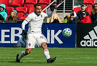 WASHINGTON, DC - FEBRUARY 29: Andre Shinyashiki #99 of the Colorado Rapids sends over a cross during a game between Colorado Rapids and D.C. United at Audi Field on February 29, 2020 in Washington, DC.