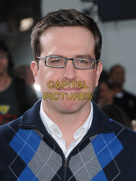 "ED HELMS .The Universal Pictures' L.A. Premiere of ""Bruno"" held at the Grauman's Chinese Theatre in Hollywood, California, USA. .June 25th, 2009.headshot portrait black blue grey gray argyle glasses .CAP/DVS.©Debbie VanStory/Capital Pictures."