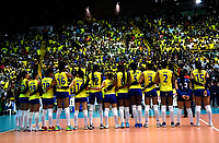 BOGOTÁ-COLOMBIA, 09-01-2020: Jugadoras de Colombia antes de partido entre Argentina y Colombia en el Preolímpico Suramericano de Voleibol, clasificatorio a los Juegos Olímpicos Tokio 2020, jugado en el Coliseo del Salitre en la ciudad de Bogotá del 7 al 9 de enero de 2020. / Players from Colombia prior a match between Argentina and Colombia, in the South American Volleyball Pre-Olympic Championship, qualifier for the Tokyo 2020 Olympic Games, played in the Colosseum El Salitre in Bogota city, from January 7 to 9, 2020. Photo: VizzorImage / Luis Ramírez / Staff.