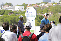 Jose Maria Olazabal (ESP) and Andrea Pavan (ITA) on the 7th tee during the second round of the Mutuactivos Open de Espana, Club de Campo Villa de Madrid, Madrid, Madrid, Spain. 04/10/2019.<br /> Picture Hugo Alcalde / Golffile.ie<br /> <br /> All photo usage must carry mandatory copyright credit (© Golffile | Hugo Alcalde)