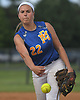Kelsey Leonard #22, East Meadow starting pitcher, delivers to the plate in the top of the second inning of Game 3 of the Nassau County varsity softball Class AA final against Long Beach at Mitchel Athletic Complex on Friday, May 26, 2017. East Meadow went on to win 3-1 to take the best-of-three series two games to one.