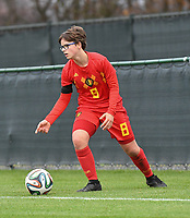 20181205 - TUBIZE , BELGIUM : Belgian Karlijn Helsen pictured during the friendly female soccer match between Women under 15 teams of  Belgium and Gemany , in Tubize , Belgium . Wednesday 5 th December 2018 . PHOTO SPORTPIX.BE / DIRK VUYLSTEKE