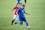 Lucas da Silva SC Kitchee (R) in action during the week three Premier League match between Hong Kong Pegasus and Kitchee at Hong Kong Stadium on September 17, 2017 in Hong Kong, China. Photo by Marcio Rodrigo Machado / Power Sport Images